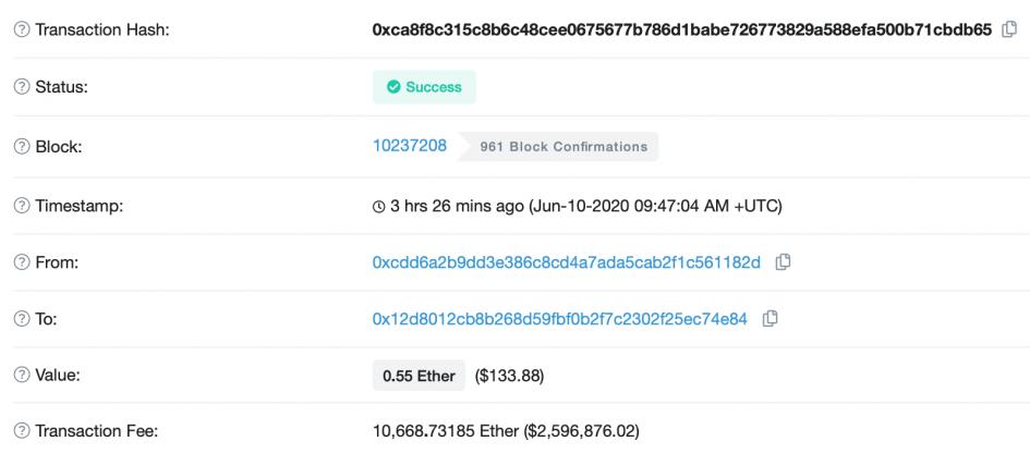 Инвестор заплатил $2,5 млн в криптовалюте за перевод 0,5 Ethereum